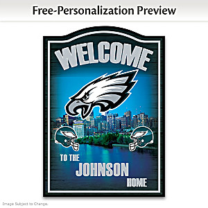 Eagles Wooden Welcome Sign Personalized With Name