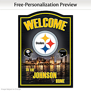 Steelers Wooden Welcome Sign Personalized With Name