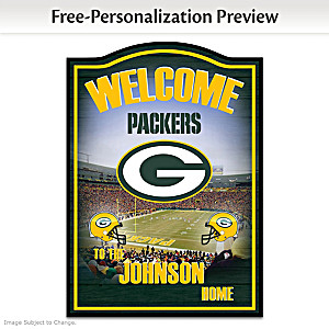 Green Bay Packers Wooden Welcome Sign Personalized With Name