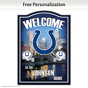 Colts Wooden Welcome Sign Personalized With Name