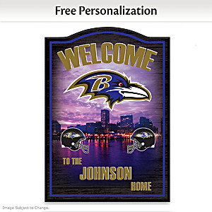Baltimore Ravens Wooden Welcome Sign Personalized With Name
