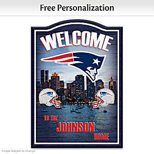 Patriots Wooden Welcome Sign Personalized With Name