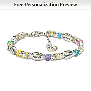 Personalized Bracelet With Family Birthstones And Names