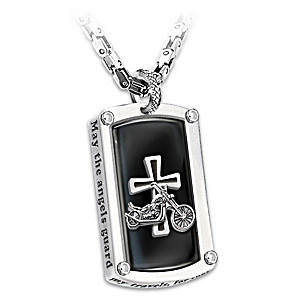 """Biker's Blessing"" Engraved Dog Tag Pendant Necklace"
