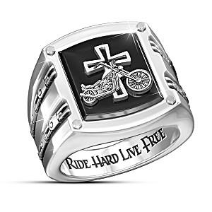 """""""Biker's Blessing"""" Stainless Steel Ring"""
