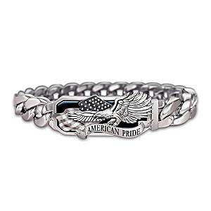 """American Pride"" Black Ion-Plated Sculpted Men's Bracelet"