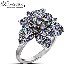 """Midnight Rose"" Diamonesk Women's Cocktail Ring"