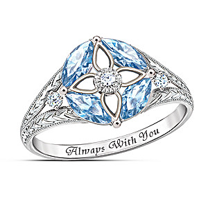"""Light Of Faith"" Blue Topaz And Diamond Sterling Silver Ring"