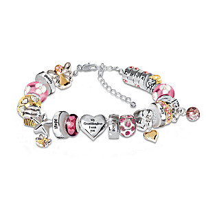 Heartfelt Wishes Crystal Charm Bracelet For Granddaughter