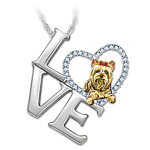 """Love Is A Yorkie"" Swarovski Crystal Pendant Necklace"