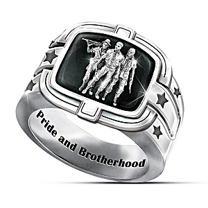 """Brotherhood of Veterans"" Ring With Black Onyx Inlay"