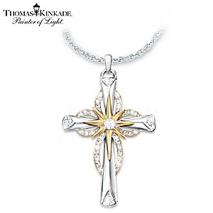 Thomas kinkade reflections of faith cross pendant necklace thomas kinkade faith diamond pendant necklace aloadofball Choice Image