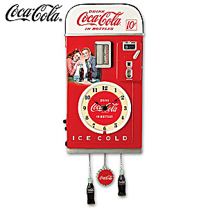 COCA-COLA 1950s-Style Vending Machine Illuminated Wall Clock