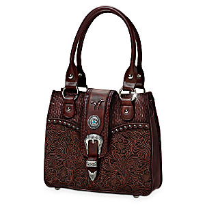 Western-Style Tooled Handbag With Silvery Accents