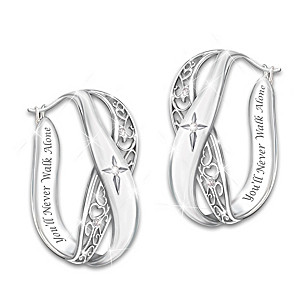 """""""Pure Faith"""" Solid Sterling Silver and Diamond Earrings"""