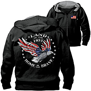 Home Of The Brave Hoodie With Patriotic Eagle Art