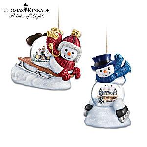 Thomas Kinkade Holiday Scene In Snowman Snowglobe Ornaments
