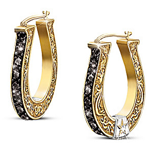 """Black Beauty"" Sapphire And Diamond Horseshoe Earrings"
