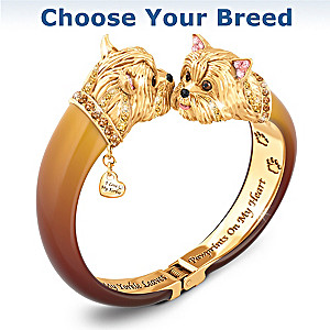 """Sophistipups"" Engraved Bangle Bracelet: Choose Your Breed"