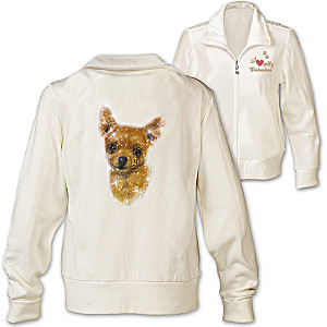 Chihuahua  Doggone Cute Embroidered Knit Jacket With Sequins