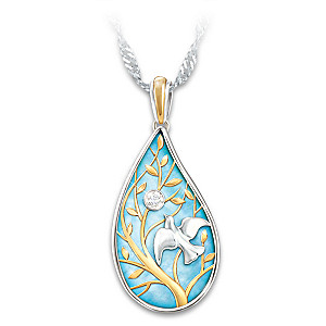 Wings Of Peace Diamond Pendant Necklace With Sentiment Card