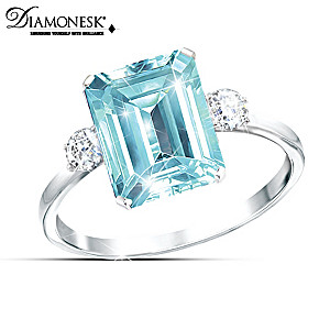 """Aqua Allure"" Princess Diana And Meghan Markle Tribute Ring"