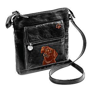 I Love My Dachshund Crossbody Bag With Detailed Art