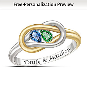"""Lover's Knot"" Name-Engraved Romantic Birthstone Ring"