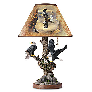 Ted Blaylock Majestic Bald Eagles Sculpted Art Lamp