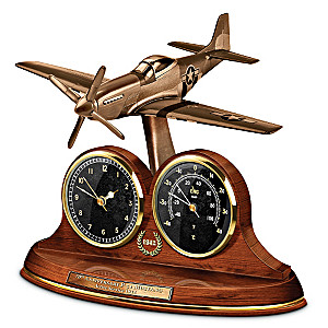 Mustang P-51 Tribute Cold-Cast Bronze Thermometer Clock