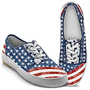 """""""American Pride"""" Sneakers With Distressed Denim Look"""