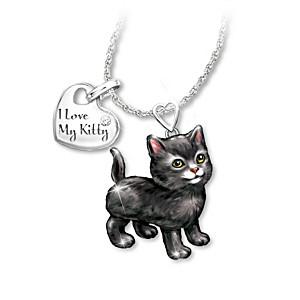 Black Cat Diamond Pendant Necklace: Legs & Tail Move