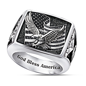 """Wings Of Freedom"" Patriotic Stainless Steel Men's Ring"