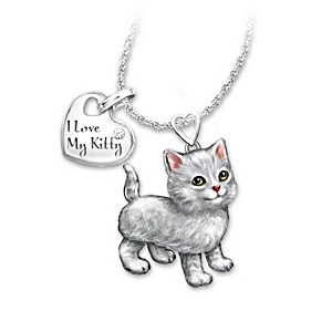 Grey Tabby Diamond Pendant Necklace: Legs And Tail Move
