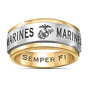 """""""USMC Semper Fi"""" 24K Gold Ion-Plated Men's Spinning Ring"""