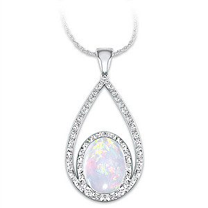 Australian Opal And Diamond Pendant In Double Loop Design