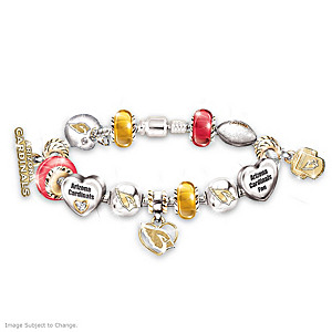 Arizona Cardinals Charm Bracelet With Swarovski Crystals
