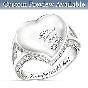 Romantic 3-Diamond Sterling Silver Ring With Engraved Names