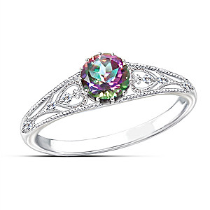 carats white natural diamonds topaz halo gold ring emerald octagon com mystic wide rings amazon diamond dp