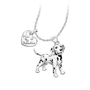 Playful Pup Diamond Pendant Necklace - Dalmatian