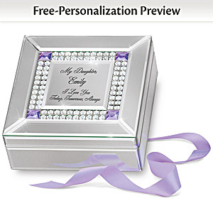 Birthstone Mirrored Daughter Music Box With Engraved Name