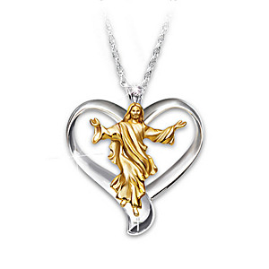 Jesus And Cross Pendant Necklace In Open Heart Design