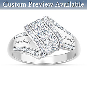 """Personalized """"Reflections Of Love"""" 12-Diamond Couples Ring"""