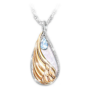 """""""Forever In My Heart"""" Blue Topaz Pendant Necklace"""