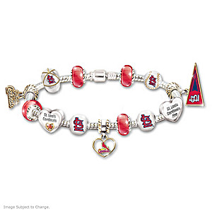 St. Louis Cardinals Charm Bracelet With Swarovski Crystal