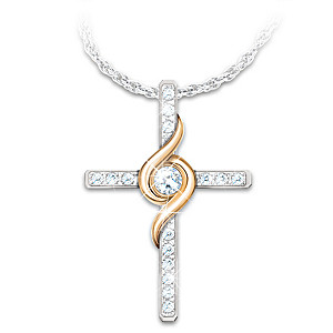 """Amazing Grace"" Diamond Cross Necklace With Musical Case"