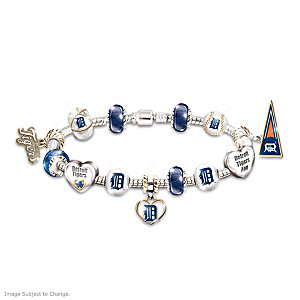 Detroit Tigers Charm Bracelet With Swarovski Crystal