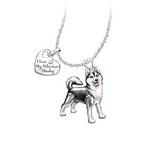 Playful Pup Diamond Pendant Necklace - Siberian Husky