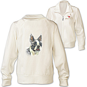 Boston Terrier Embroidered Knit Jacket With Sequins