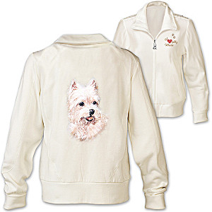 Westie Embroidered Knit Jacket With Sequins